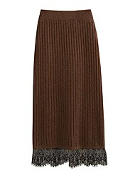 cheap -Women's Date / Festival Basic Pencil Skirts - Solid Colored Lace Black Brown Dark Gray One-Size