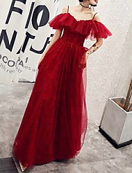 cheap -A-Line Spaghetti Strap Floor Length Polyester Sparkle / Red Engagement / Formal Evening Dress with Ruffles 2020