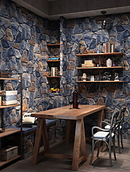 cheap -Wallpaper Wall Covering Sticker Film Rock Brick Adhesive Required Non Woven Home Décor 1000*53 cm