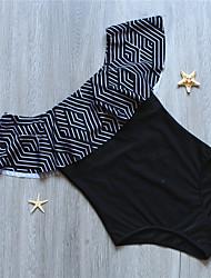 cheap -Women's Boho Black Halter Briefs One-piece Swimwear Swimsuit - Geometric Ruffle Print M XL Black