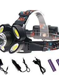 cheap -Headlamps Waterproof 3000 lm LED LED 5 Emitters with Charger Waterproof Portable Camping / Hiking / Caving Everyday Use Cycling / Bike Black