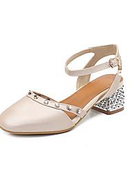 cheap -Women's Sandals Chunky Heel Square Toe Rivet / Buckle PU Preppy / Minimalism Spring & Summer Almond / Yellow / Light Purple / Party & Evening