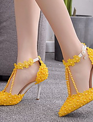 cheap -Women's Heels Glitter Crystal Sequined Jeweled Stiletto Heel Pointed Toe Daily PU Yellow / 2-3
