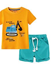 cheap -Kids Boys' Basic Cartoon Short Sleeve Clothing Set Yellow