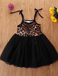 cheap -Toddler Girls' Basic Leopard Sleeveless Above Knee Dress Black