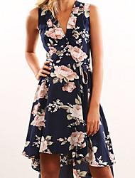 cheap -Women's Sheath Dress - Geometric V Neck Navy Blue S M L XL