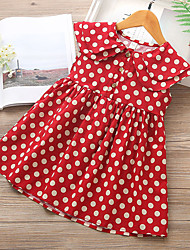 cheap -Kids Toddler Girls' Boho Polka Dot Lace up Sleeveless Above Knee Dress Red