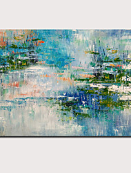 cheap -Oil Painting Hand Painted Horizontal Panoramic Abstract Landscape Comtemporary Modern Stretched Canvas / Rolled Canvas
