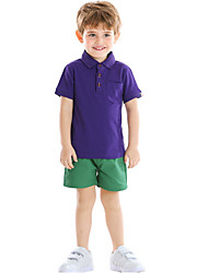 cheap -Kids Boys' Basic Solid Colored Short Sleeve Clothing Set Purple