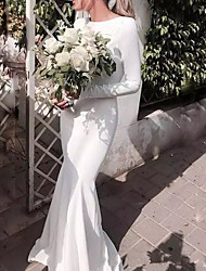 cheap -Mermaid / Trumpet Jewel Neck Floor Length Satin Long Sleeve Casual Plus Size Wedding Dresses with Draping 2020