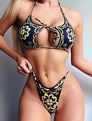 cheap -Women's Plus Size Black White Brown Tankini Swimwear - Geometric S M L Black