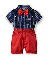 cheap -Kids Boys' Basic Birthday Party Party & Evening Black & White Striped Print Short Sleeve Regular Regular Clothing Set Blue