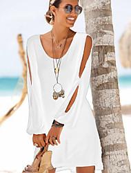 cheap -Women's Slim Shift Dress - Solid Colored Black Wine White S M L XL