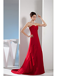 cheap -A-Line Sweetheart Neckline Sweep / Brush Train Chiffon Elegant Formal Evening Dress with Beading / Appliques / Tier 2020