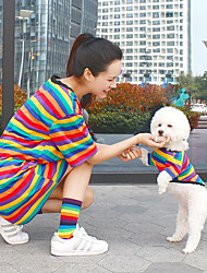 cheap -Dog Cat Costume Shirt / T-Shirt Matching Outfits Patchwork Stripes Cute Sports Casual / Daily Dog Clothes Breathable Rainbow Costume Cotton Women M XS S M L XL