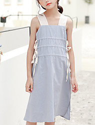 cheap -Kids Girls' Street chic Sophisticated Solid Colored Drawstring Sleeveless Knee-length Dress Gray