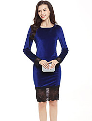 cheap -Female Velvet Dress Office Lace Lace Sleeves Bodycon Lace Dress - Sexy Lace Printing Black, Patchwork Lace Velvet Black Royal Blue Red S M L XL Belt Not Included