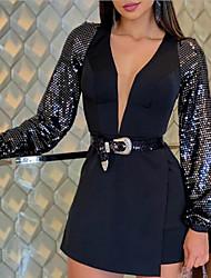 cheap -Women's Sheath Dress - Solid Colored Black M L XL XXL