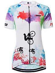 Недорогие -21Grams Узоры тай-дай Радужный Жен. С короткими рукавами Велокофты - Синий+Розовый Велоспорт Джерси Верхняя часть Дышащий Быстровысыхающий Влагоотводящие Виды спорта Терилен Горные велосипеды Одежда