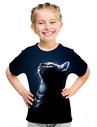 cheap -Kids Girls' Active Street chic Cat 3D Animal Print Short Sleeve Tee Navy Blue