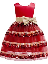 cheap -Ball Gown Knee Length Pageant Flower Girl Dresses - Polyester Sleeveless Jewel Neck with Bow(s)