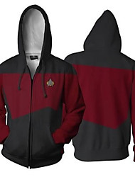 cheap -Inspired by Star Trek Cosplay Cosplay Costume Hoodie Polyster Color Block Patchwork Hoodie For Women's / Men's
