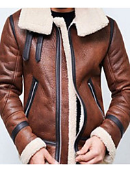 cheap -Men's Daily Fall & Winter Regular Leather Jacket, Solid Colored Stand Long Sleeve Polyester Black / Brown