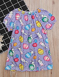 cheap -Baby Girls' Basic Print Short Sleeve Dress Purple