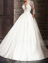cheap -A-Line Wedding Dresses V Neck Floor Length Satin Half Sleeve Formal Plus Size Illusion Sleeve with Appliques 2020