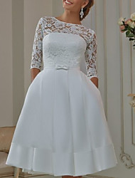 cheap -A-Line Off Shoulder Knee Length Tulle Half Sleeve Formal Plus Size / Illusion Sleeve Wedding Dresses with Appliques 2020