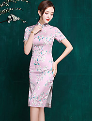cheap -Adults' Women's Chinese Style Chinese Style Cheongsam Qipao For Party Polyster 3D Print Halloween Carnival Masquerade Cheongsam