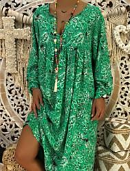 cheap -Women's 2020 Elegant Maxi Slim Swing Dress - Geometric V Neck Spring & Summer Black Yellow Red S M L XL