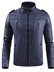 cheap -Men's Daily Fall & Winter Regular Jacket, Solid Colored Stand Long Sleeve Polyester Wine / Yellow / Blue