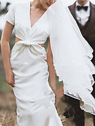 cheap -Mermaid / Trumpet V Neck Sweep / Brush Train Satin Short Sleeve Simple Plus Size Wedding Dresses with Draping 2020