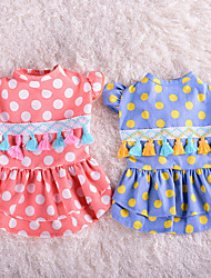 cheap -Dog Cat Dress Bowknot Flower Leisure Sweet Dog Clothes Blue Pink Costume Polyester Cotton XS S M L XL
