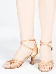 cheap -Women's Latin Shoes Suede Heel Flared Heel Dance Shoes Black / Camel