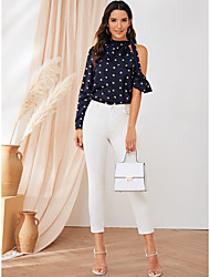 cheap -Women's Holiday Going out Blouse - Polka Dot Navy Blue