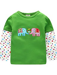 abordables -Enfants Garçon Basique Animal Manches Longues Tee-shirts Vert