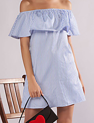 cheap -Women's / Ladies Date Street Trendy T-shirt Sleeve A Line Dress - Stripes Ruffle Light Blue S M L