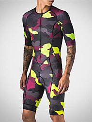 cheap -21Grams Men's Short Sleeve Triathlon Tri Suit Red / Yellow Camo / Camouflage Bike Clothing Suit UV Resistant Breathable Quick Dry Sweat-wicking Sports Camo / Camouflage Mountain Bike MTB Road Bike