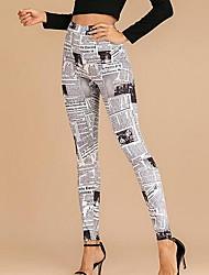 cheap -Women's Basic Jogger Pants - 3D Print White Green Beige S M L