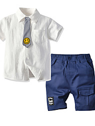 cheap -Kids Toddler Boys' Basic Birthday Party Party & Evening Black & White Solid Colored Print Short Sleeve Regular Regular Clothing Set White