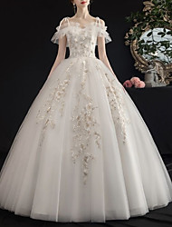 cheap -A-Line V Neck Floor Length Lace / Tulle Regular Straps Casual See-Through / Illusion Detail / Plus Size Wedding Dresses with Lace Insert 2020