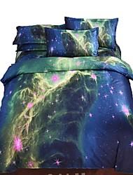 cheap -Duvet Cover Sets 3 Piece Cotton 3D Purple Printed Contemporary