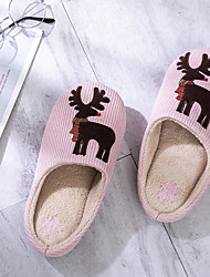 cheap -Women's Slippers / Men's Slippers Guest Slippers / House Slippers Stripes / Non slip slippers Christmas elk cloth embroidered home shoes