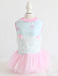 cheap -Dog Costume Dress Dog Clothes Breathable Blue Pink Wedding Costume Beagle Bichon Frise Chihuahua Cotton Voiles & Sheers Lace Flower Casual / Sporty Cute XS S M L XL
