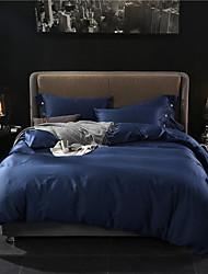 cheap -Duvet Cover Sets 4 Piece Cotton Solid Colored Purple Reactive Print Contemporary