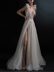 cheap -A-Line V Neck Floor Length Lace / Tulle Sleeveless Sexy See-Through / Plus Size Made-To-Measure Wedding Dresses with Appliques / Split Front 2020