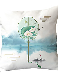 Недорогие -1 шт. Полиэстер наволочка новый китайский стиль китайские чернила и ветер подушка классический ретро ваза дизайн вентилятора подушка гостиная диван подушка талии подушка