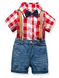cheap -Kids Boys' Basic Birthday Party Party & Evening Black & White Plaid Print Short Sleeve Regular Regular Clothing Set Red